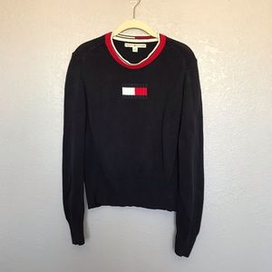 Vintage Tommy Hilfiger Knit Flag Logo Sweater L